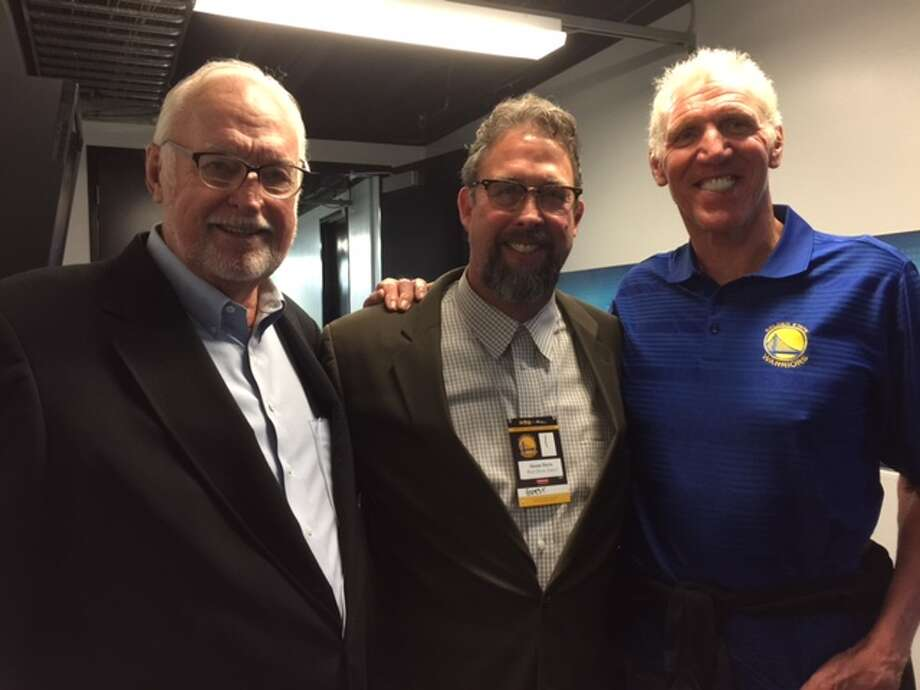 """Walter F. """"Buddy"""" Davis, left; his son, Shaun; and NBA Hall of Famer Bill Walton, whose son, Luke, is an assistant coach with the Golden State Warriors, celebrating their championship ring ceremony Tuesday. The elder Davis was a player on the 1955-1956 Championship Philadelphia Warriors."""