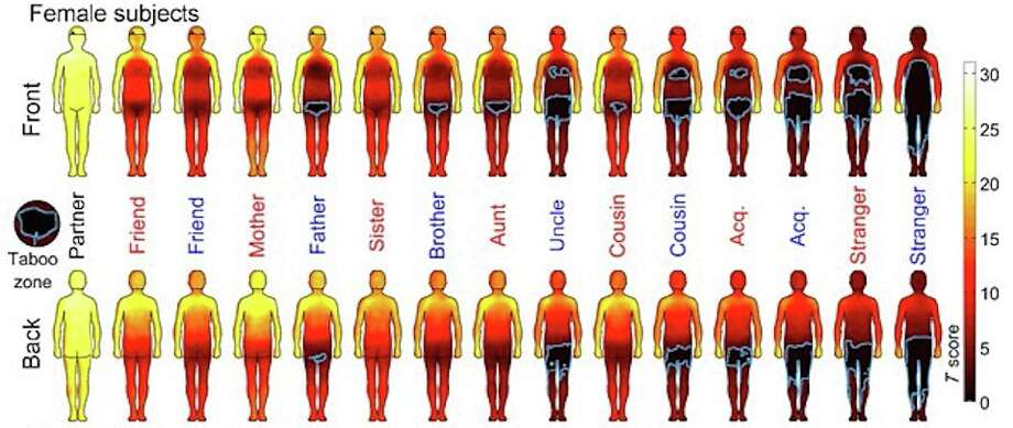 Researchers at Oxford University scientists created a series of body maps to show where humans are comfortable being touched. Dark areas and blue outlines show hands-off body areas. Photo: Proceedings Of The National Academy Of Sciences