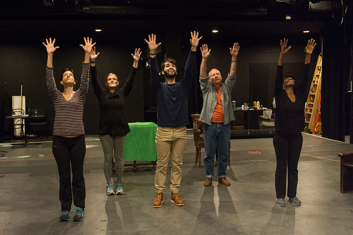 """Cast rehearsal for WAM Theatre's upcoming production of """"Holy Laughter"""" by Catherine Trieschmann, directed by Megan Sandberg-Zakian. Photo credit: Enrico Spada"""