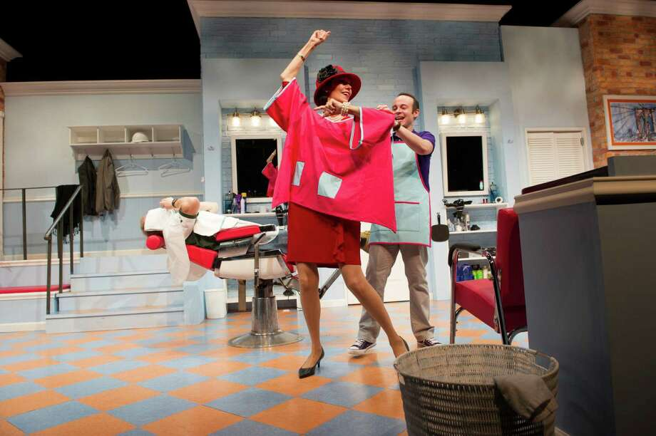 "Lynne Wintersteller and Jonathan Spivey in a dress rehearsal of ""Shear Madness"" at the New World Stages in New York, Oct. 18, 2015. Launched as a summer one-off in 1978, the zany whodunit is America's longest running play, and is opening in New York for the first time. (Paula Lobo/The New York Times) ORG XMIT: XNYT23 Photo: PAULA LOBO / NYTNS"