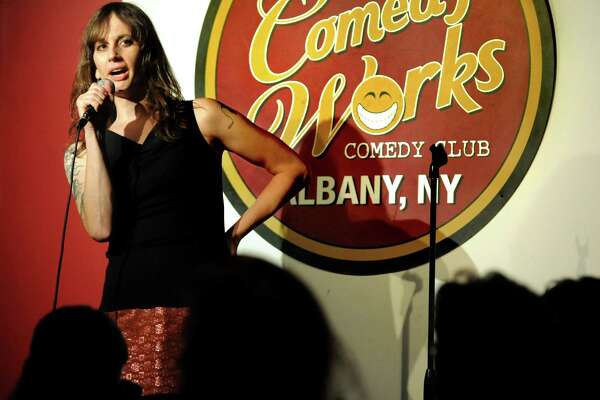 Local comic Jaye McBride performs on Thursday, Oct. 22, 2015, at Comedy Works in Albany, N.Y. (Cindy Schultz / Times Union)
