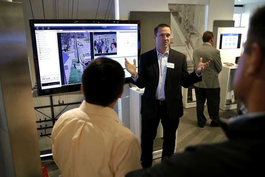 Jesse James outlines intelligent video systems at a Verizon demonstration of its ThingSpace platform in San Francisco. Photo: Connor Radnovich, The Chronicle