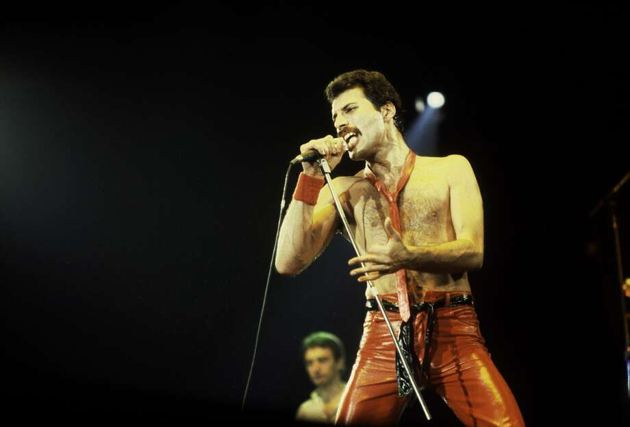 Singer Freddie Mercury of Queen at the Rosemont Horizon on September 19, 1980 in Rosemont, Illinois.