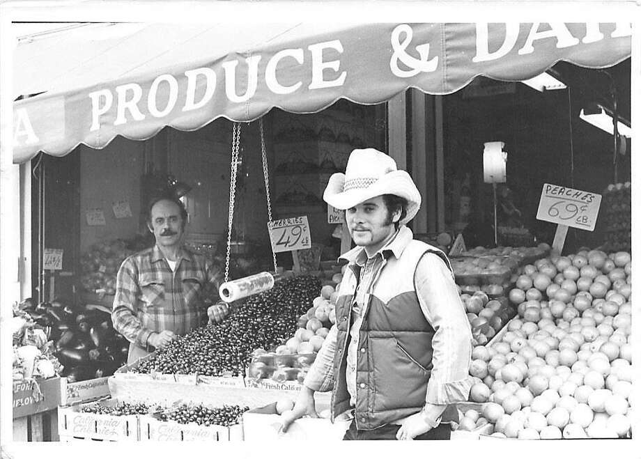 Gus Vardakastanis (right), and his father, Dimitri, in front of their Haight Street Market store circa 1981. Georgia Vardakastanis, Gus' wife, makes spanakopita that they sell in their stores. Photo: Courtesy Of Gus Market