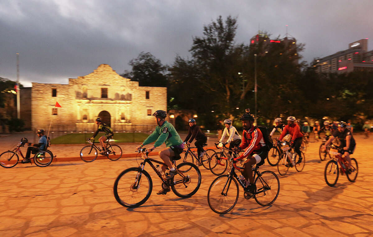 In December, cyclists rode through Alamo Plaza before the start of the Humana Rock 'n' Roll Marathon and 1/2 Marathon.