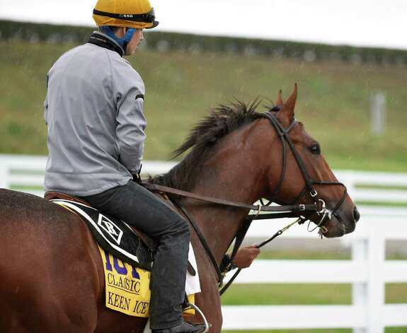 Travers winner goes out in a heavy rain to get his first look at the main track of Keeneland Race Course this morning Oct. 28, 2015 in Lexington, KY  Keen Ice will compete against American Pharoah and a host of other very talented competitors in the Breeders' Cup Classic on Saturday afternoon.    (Skip Dickstein/Times Union) Photo: SKIP DICKSTEIN