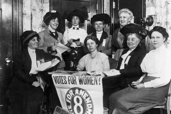 Women, joined by others across the country, seek to secure the passage of the 19th Amendent, which granted women the right to vote, seen in San Francisco in the late 1910s or early 1920s.