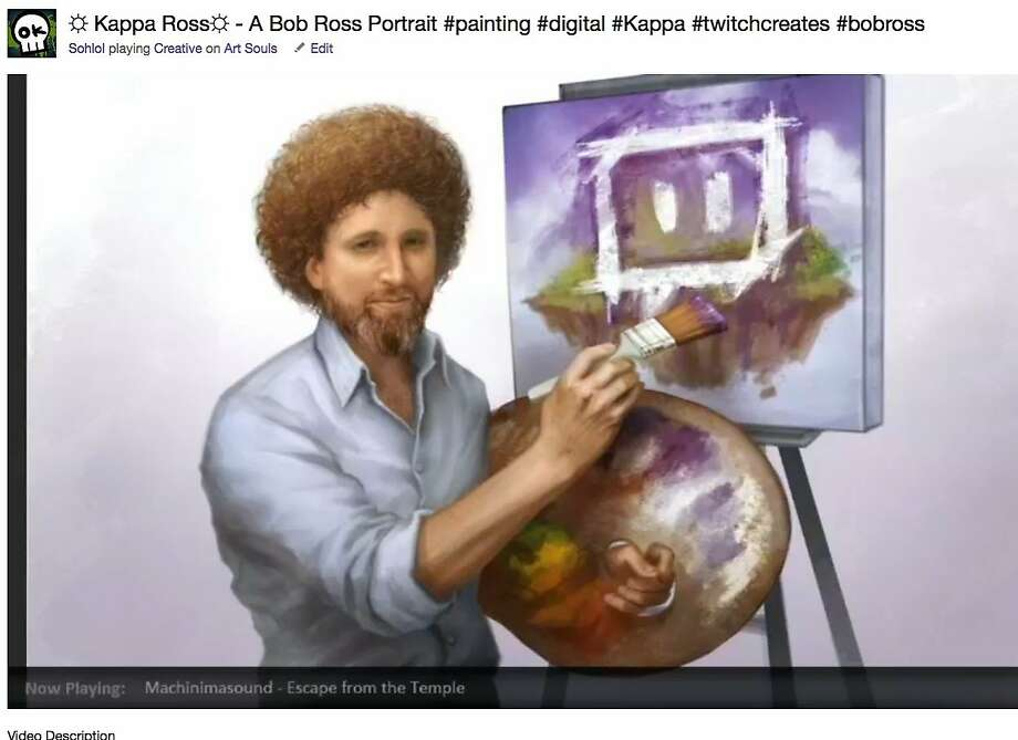 "Twitch, which made its name catering to video gamers who want to watch others play video games online, now is opening channels for artists and musicians to create their works while other watch. THis screen shot provided by Twitch shows a portrait of the late Bob Ross, host of the old PBS show ""The Joy of Painting,"" that was created by Twitch artists named Sohlol Photo: Twitch"