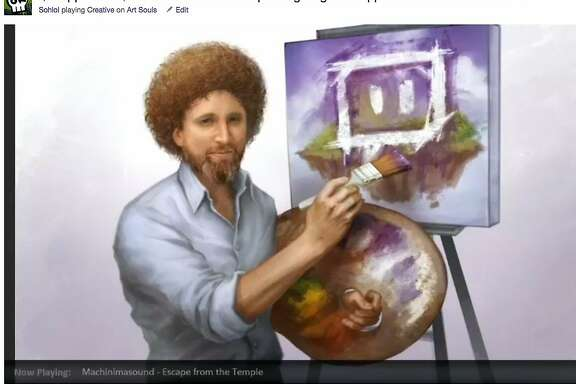 """Twitch, which made its name catering to video gamers who want to watch others play video games online, now is opening channels for artists and musicians to create their works while other watch. THis screen shot provided by Twitch shows a portrait of the late Bob Ross, host of the old PBS show """"The Joy of Painting,"""" that was created by Twitch artists named Sohlol"""