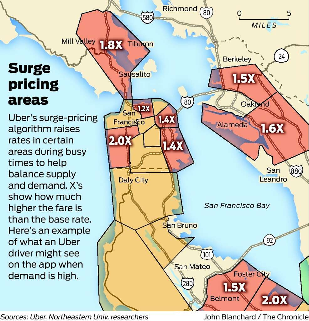 Report Says Uber Surge Pricing Has A Twist Some Drivers Flee SFGate - Uber heat map us
