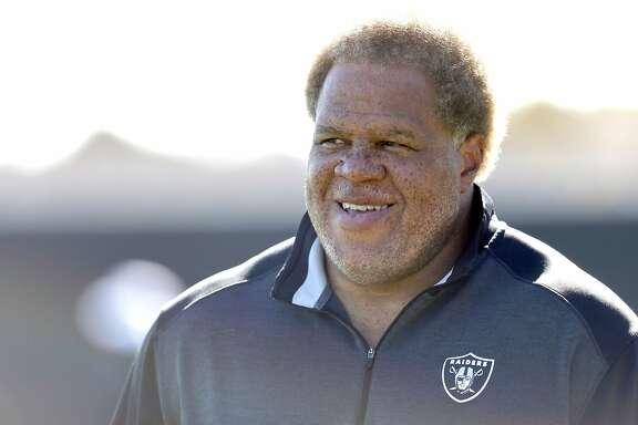 Oakland Raiders' General Manager Reggie McKenzie at practice in Oakland, Calif., on Wednesday, October 28, 2015.