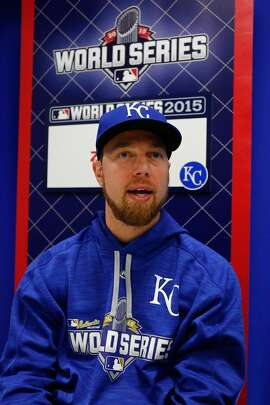KANSAS CITY, MO - OCTOBER 26:  Ben Zobrist #18 of the Kansas City Royals addresses the media the day before Game 1 of the 2015 World Series between the Royals and New York Mets at Kauffman Stadium on October 26, 2015 in Kansas City, Missouri.  (Photo by Kyle Rivas/Getty Images)