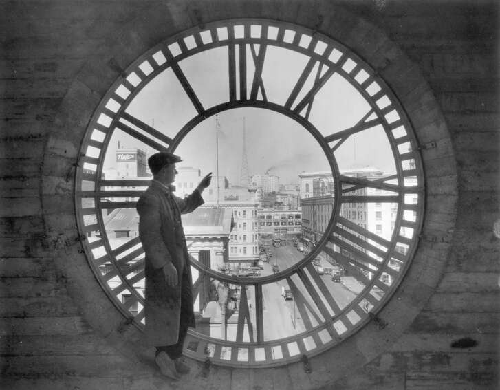 Looking northward through the dial of the historic Chronicle Clock in 1926.