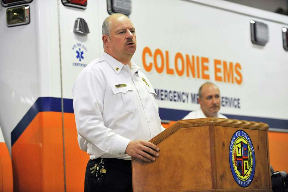 Colonie EMS Chief, Peter Berry, addresses those gathered during a media event on Wednesday, October 28, 2015 in Colonie, N.Y. to unveil a new EMS system that has computer tablets with WiFi and GPS in every ambulance.  The devices allow for quicker transmission of information to EMS crews responding to calls and of patient information to hospitals from an ambulance.   (Paul Buckowski / Times Union) Photo: PAUL BUCKOWSKI / 00033970A