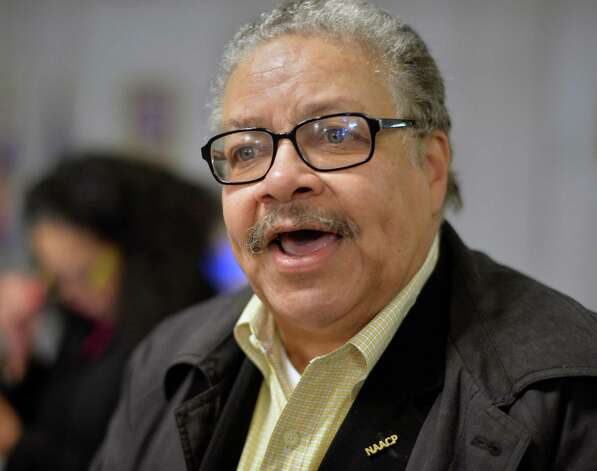 President of the Albany branch NAACP Bernie Bryan discusses the decision by the Albany County Grand Jury on the case of Donald Ivy with reporters at City Hall Wednesday Oct. 28, 2015 in Albany, NY.  (John Carl D'Annibale / Times Union) Photo: John Carl D'Annibale / 00033981A