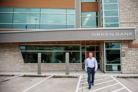 Geoff Greenwade, President and CEO of Green Bank, walks outside of his office building at 4000 Greenbriar St. Tuesday June 24, 2014 in Houston. (Michael Starghill, Jr.)