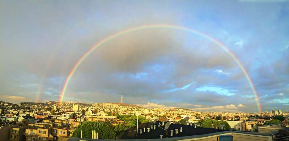 Roger Sideman captured a photograph of a double rainbow over Twin Peaks. Photo: Courtesy Roger Sideman