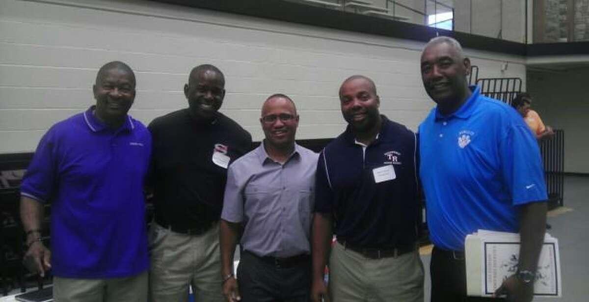 High school football coaches Willie Hall, Brackenridge; Darryl Hemphill, Stevens; Charles Bruce, Wagner; Matt Carroll, Roosevelt; Marcus Booker, former South San coach; pose for photo.