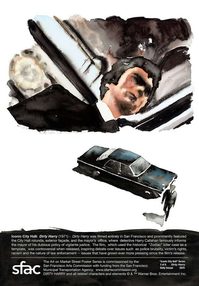 """Artist Kelly Inouye's watercolor image from the 1971 film """"Dirty Harry"""" is part of her Market Street poster series celebrating the 100th anniversary of San Francisco City Hall.  Credit: Courtesy San Francisco Arts Commission Photo: Courtesy San Francisco Arts Comm"""