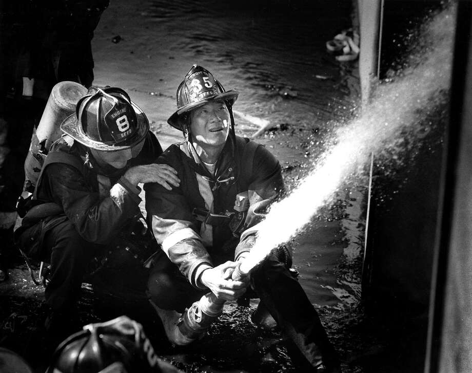 Firefighters battle a warehouse fire on Third Street in June 1988. Photo: Tom Levy, The Chronicle