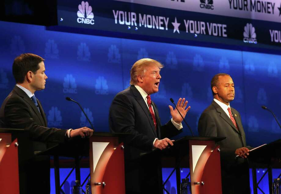 Trying to assert power: Marco Rubio, Donald Trump and Ben Carson at the October 28 CNBC Republican Presidential Debate.  Photo: Justin Sullivan, Getty Images / 2015 Getty Images