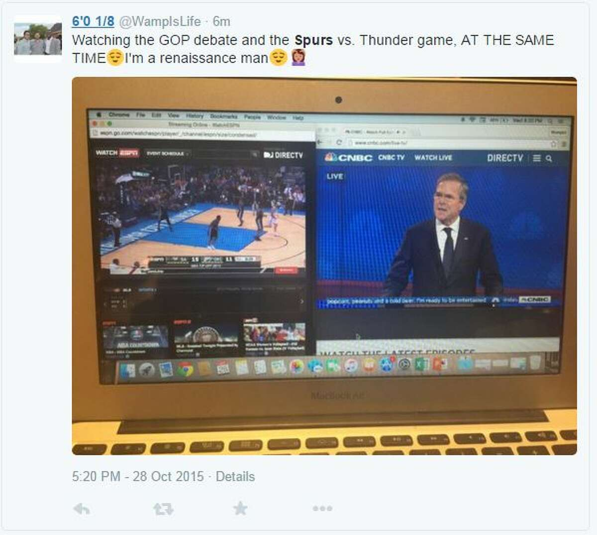 Watching the GOP debate and the Spurs vs. Thunder game, AT THE SAME TIME. I'm a renaissance man.