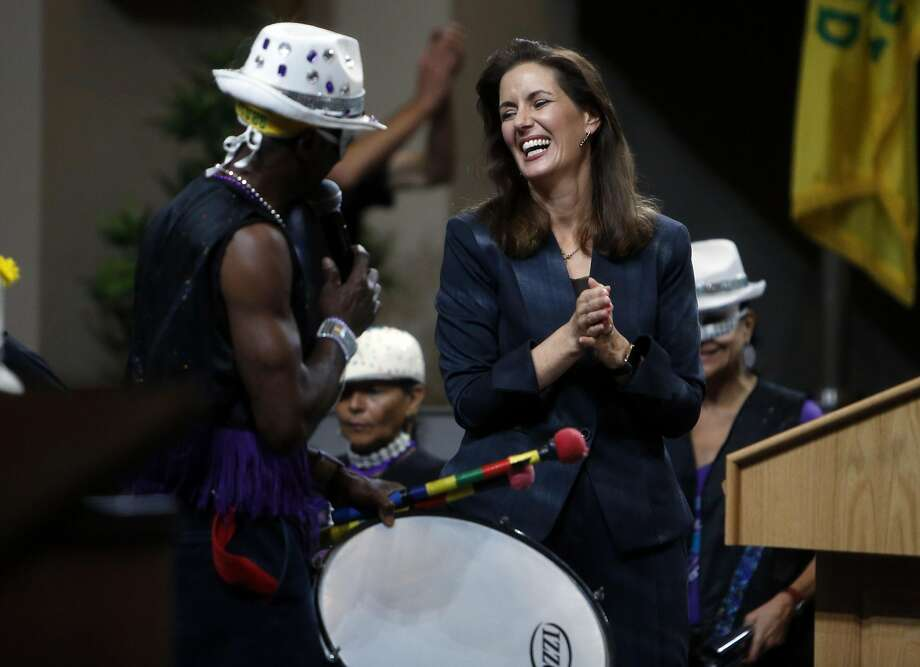 "Oakland Mayor Libby Schaaf reacts to a band playing after her ""State of the City"" address at City Hall in Oakland, Calif., on Wednesday, October 28, 2015. Photo: Scott Strazzante, The Chronicle"