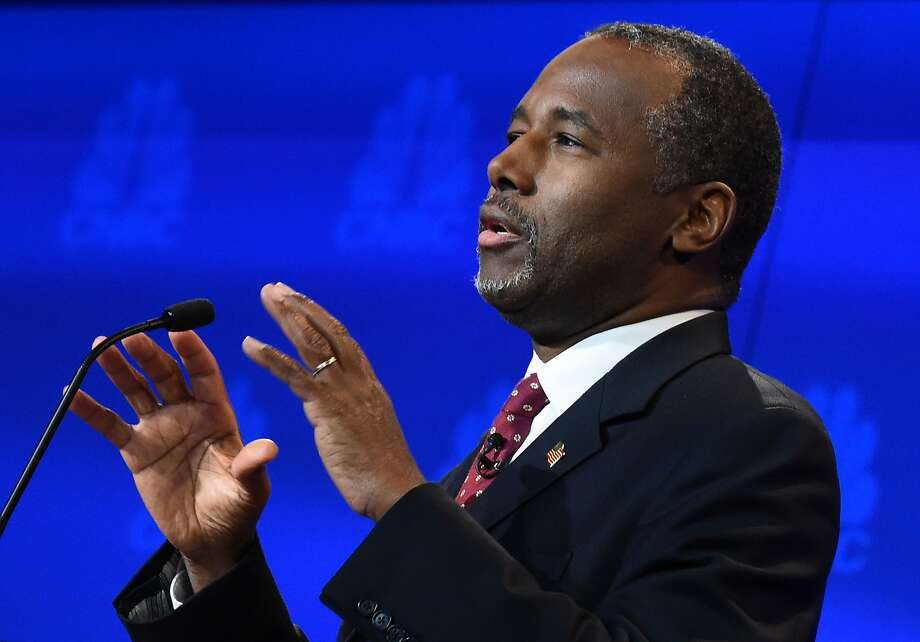 Republican Presidential hopeful Ben Carson speaks during the CNBC Republican Presidential Debate, October 28, 2015 at the Coors Event Center at the University of Colorado. Photo: Robyn Beck, AFP / Getty Images