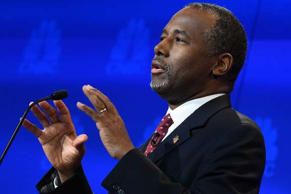 Republican Presidential hopeful Ben Carson speaks during the CNBC Republican Presidential Debate, October 28, 2015 at the Coors Event Center at the University of Colorado in Boulder, Colorado. AFP PHOTO/ ROBYN BECKROBYN BECK/AFP/Getty Images