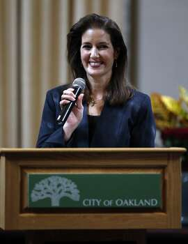 """Oakland Mayor Libby Schaaf gives her """"State of the City"""" address at City Hall in Oakland, Calif., on Wednesday, October 28, 2015."""