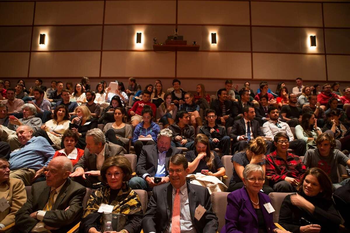 Attendees wait for Supreme Court Justice Antonin Scalia to speak at Santa Clara University Law School's recital hall on Wednesday, Oct. 28, 2015 in Santa Clara, Calif.