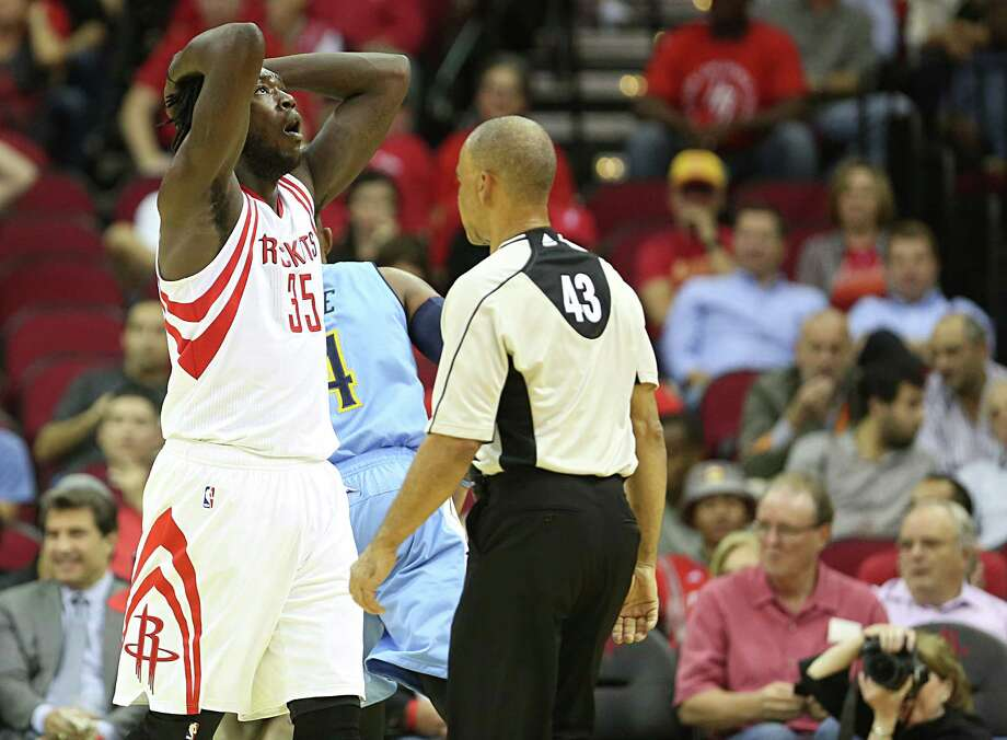 Rockets rookie Montrezl Harrell is dismayed by a call, but his reaction accurately sums up how the team felt about its opening-night performance against the Nuggets on Wednesday at Toyota Center. Photo: James Nielsen, Staff / © 2015  Houston Chronicle