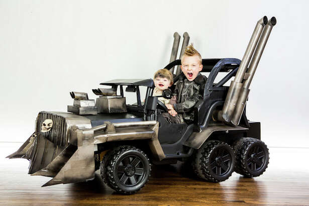 Cory and Jeremy Newton-Smith made a Max Max rig for their son Cooper and daughter Ziggy.