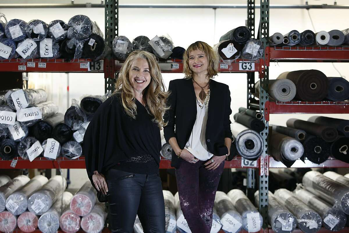 """CEO Patti Cazzato and design director Andrea Chynoweth collaborated the longtime messenger bag company's first line for women called the """"Femme 2"""" collection at their office in San Francisco, Calif., on Tuesday, October 27, 2015. Their custom made bags have about a hundred different fabrics to choose."""