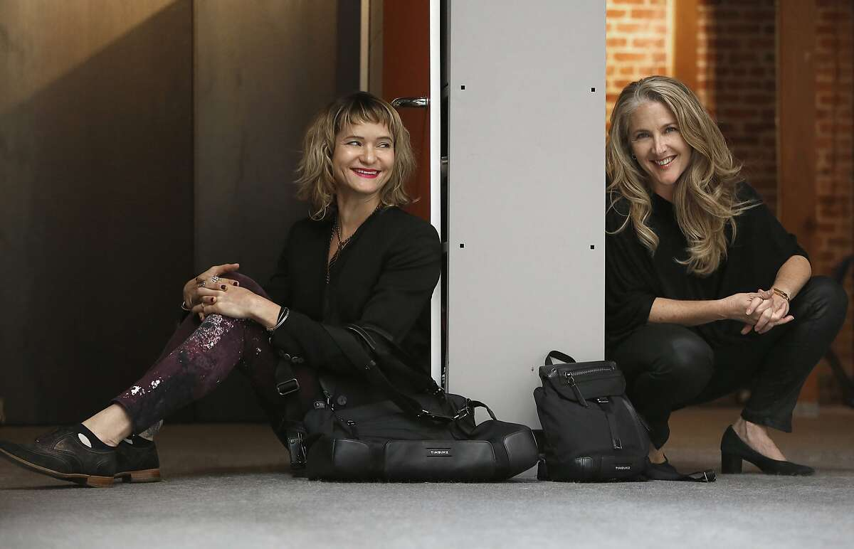 """Timbuk2 design director Andrea Chynoweth (left) and CEO Patti Cazzato (right) collaborated the longtime messenger bag company's first line for women called the """"Femme 2"""" collection at their office in San Francisco, Calif., on Tuesday, October 27, 2015."""