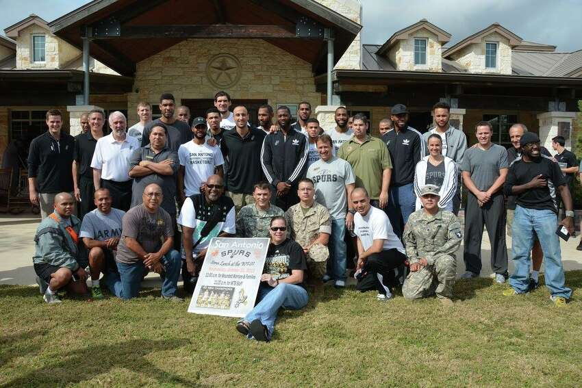 The heart of the Spurs family shined through last week as the entire team quietly paid a visit to the Wounded Warriors Family Support Center at Brooke Army Medical Center last week for lunch, conversation and basketball.