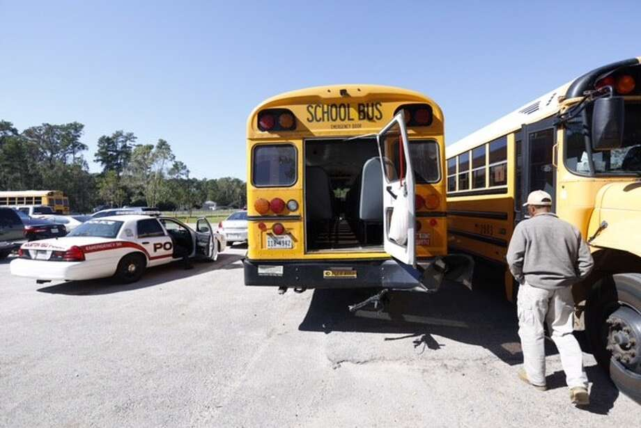 Twenty-nine students and six adults were taken to an Humble-area hospital after the bus they were riding on was hit during a student field trip in Northeast Harris County, Thursday, Oct. 29, 2015. Photo: Cody Duty   Houston Chronicle
