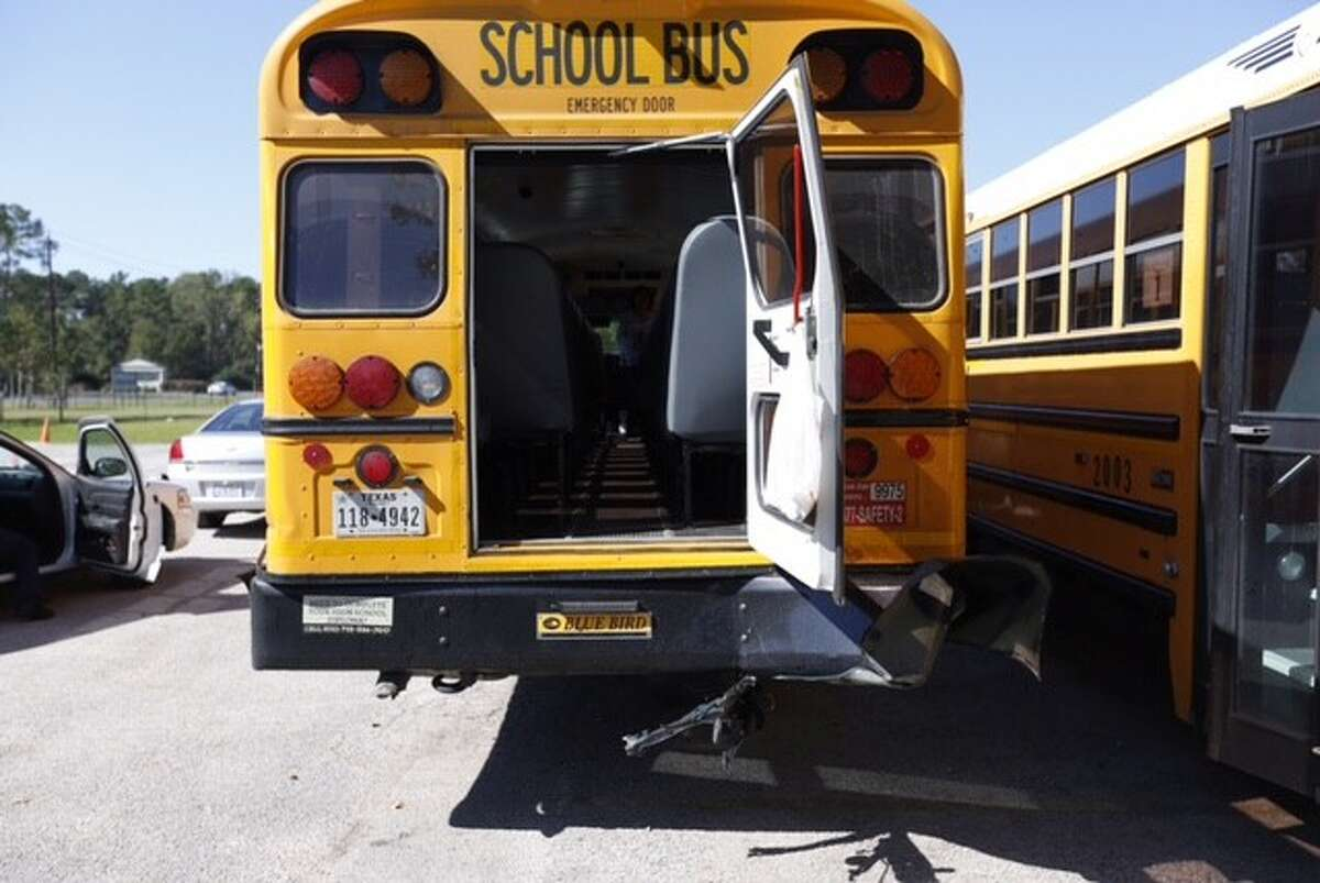 Twenty-nine students and six adults were taken to an Humble-area hospital after the bus they were riding on was hit during a student field trip in Northeast Harris County, Thursday, Oct. 29, 2015.