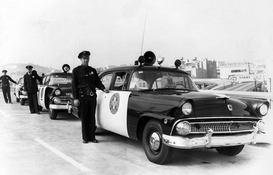 Vintage 1950s San Francisco Police Department squad cars -- from a handout photo for a 1993 Cow Palace car show. Photo: Special To The Chronicle