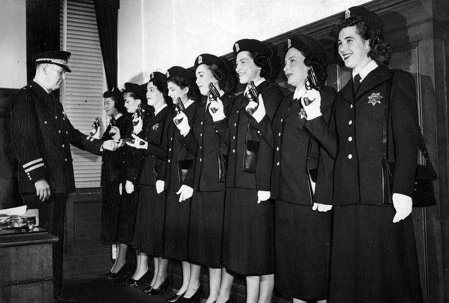 March 16, 1950: Chief Michael Mitchell with a group of female San Francisco Police Department recruits. Photo: Aaron Rubino, The Chronicle