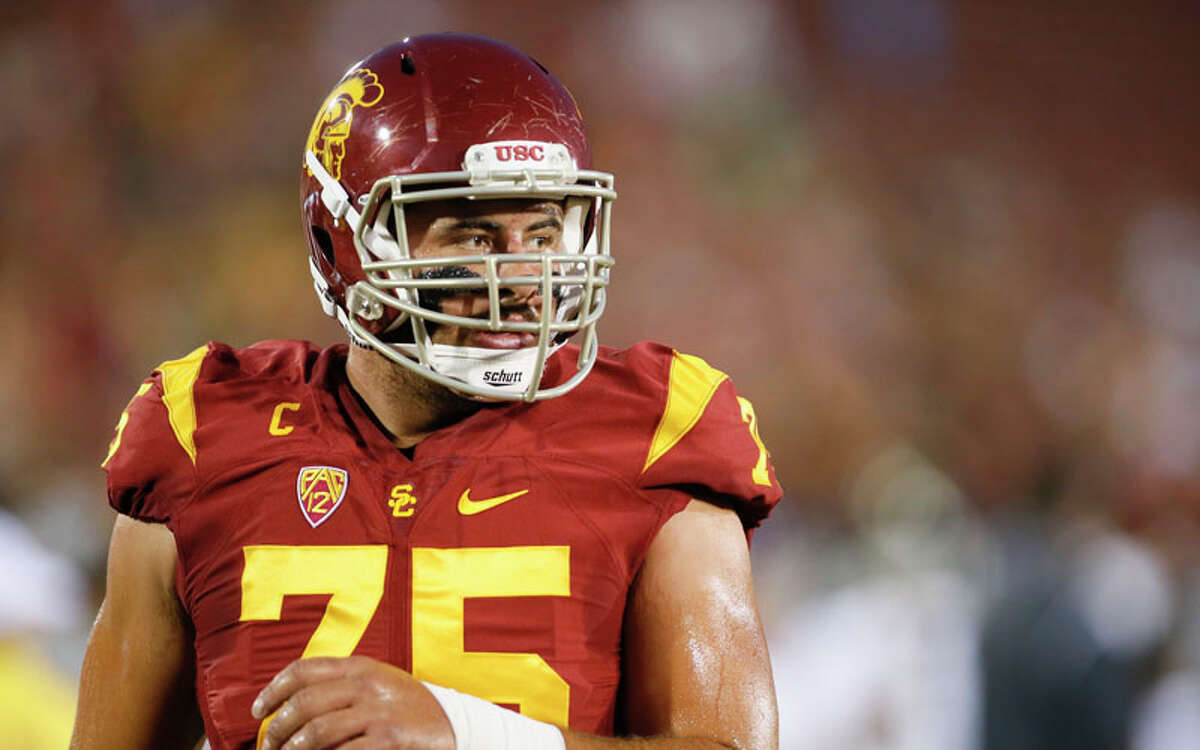 Southern California center Max Tuerk looks on before an NCAA college football game against Arkansas State, Saturday, Sept. 5, 2015, in Los Angeles. (AP Photo/Danny Moloshok)