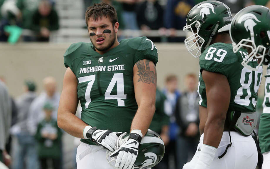"The Big Lead's Jason McIntyretabs Michigan State offensive tackle Jack Conklin as the Seahawks' target at No. 20 overall. ""Yes, for now I have the Seahawks missing the playoffs,"" he wrote. ""The pick has to be the offensive line, where the Seahawks, through seven games, have given up 31 sacks. In 2014, Russell Wilson was sacked 42 times."" Photo: Carlos Osorio, Associated Press / AP"