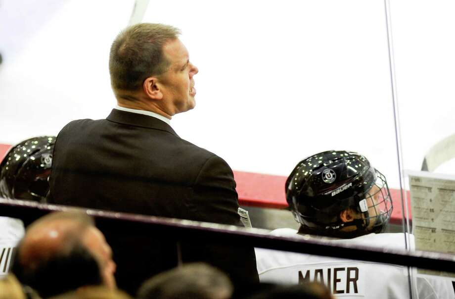 Union head coach Rick Bennett instructs his players against Sacred Heart in the second period of an NCAA college hockey game Friday, Oct 9, 2015, in Schenectady, N.Y. (Hans Pennink / Special to the Times Union) ORG XMIT: HP110 Photo: Hans Pennink / 10033642A