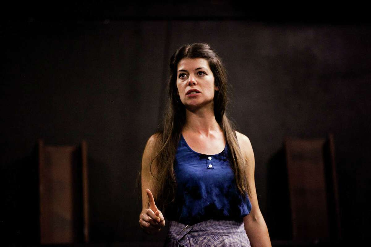"""Georgette Lockwood, who plays the title role in """"Medea,"""" rehearses in advance of the Classic Theatre production."""