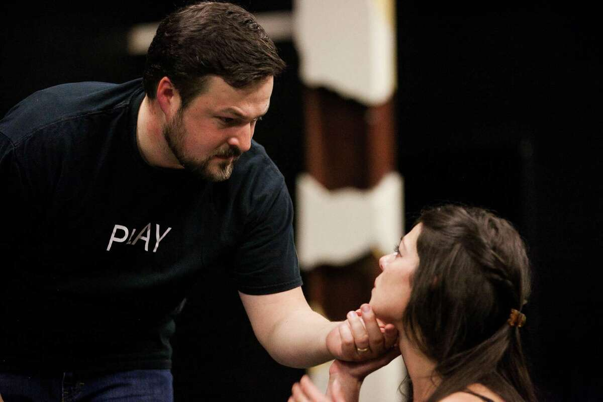 """Georgette Lockwood works with director Mark Stringham, who stepped in as Creon in a recent rehearsal of """"Medea."""""""