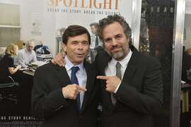 """BOSTON, MA - OCTOBER 28:  Investigative reporter from the Boston Globe Spotlight Team, Michael Rezendes and actor Mark Ruffalo attend the Boston premiere of """"Spotlight"""" on October 28, 2015 in Boston, Massachusetts.  (Photo by Paul Marotta/Getty Images for Warner Brothers)"""