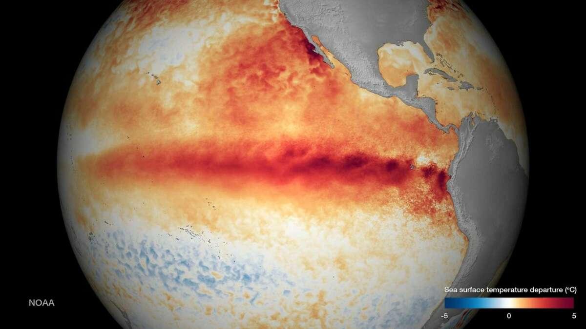 NOAA's image of El Niño strengthening, as of Oct. 9, 2015. The agency said El Niño is