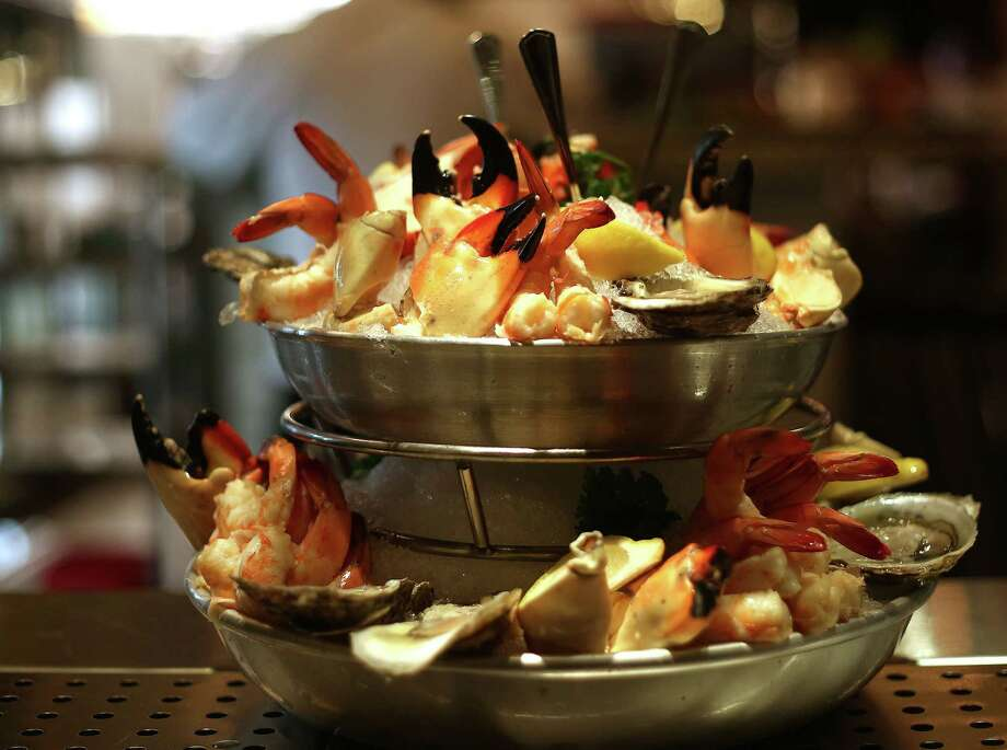 The chilled seafood tower appetizer at Pappas Steakhouse. The downtown restaurant is opening to the public Nov. 5.  Photo: Elizabeth Conley, Houston Chronicle / © 2015 Houston Chronicle