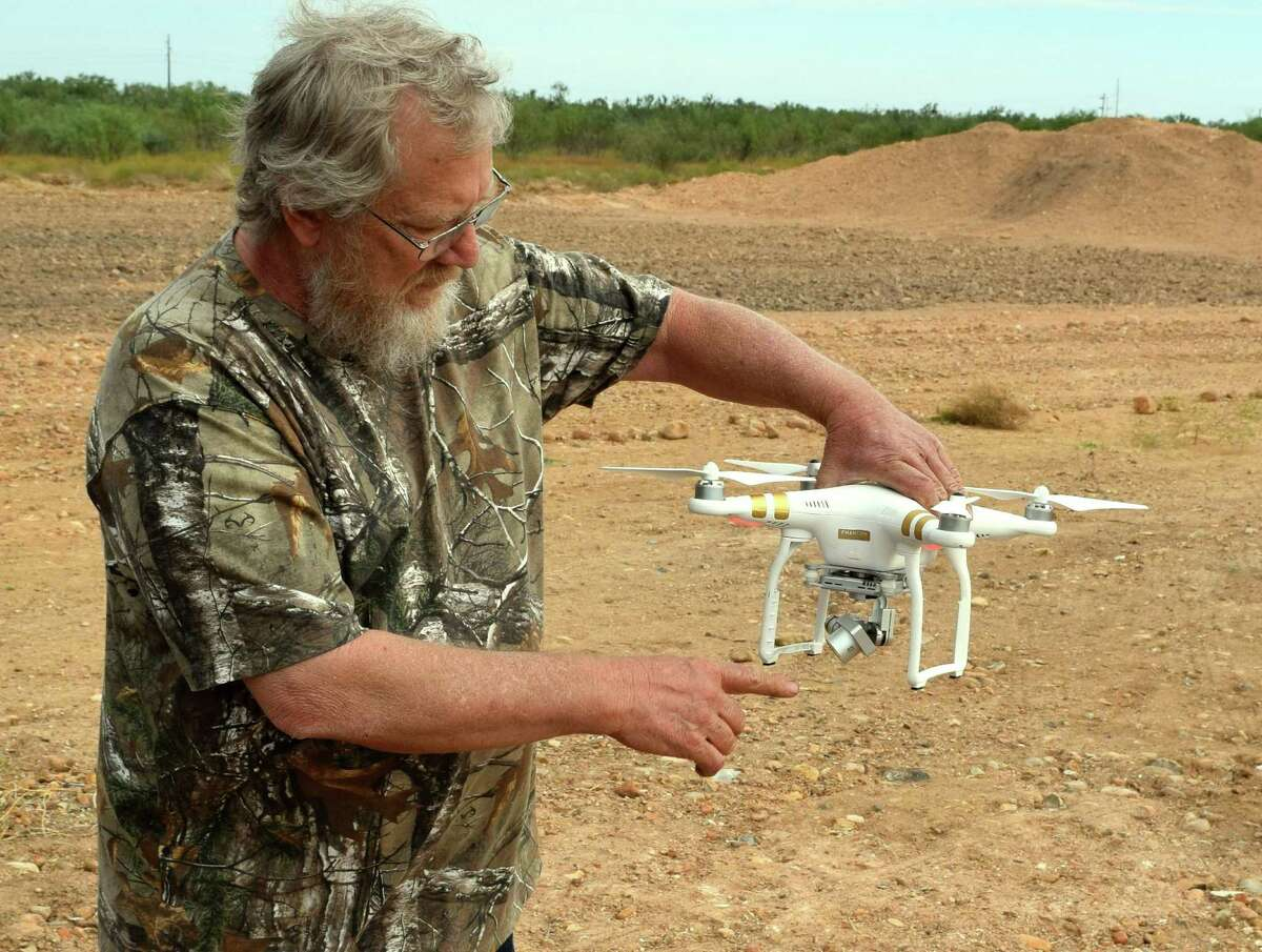 Pointing out the motion-eliminating camera on this drone, Jim Raby has joined the high-tech crowd utilizing unmanned aerial vehicles to help with preseason work on their hunting leases.