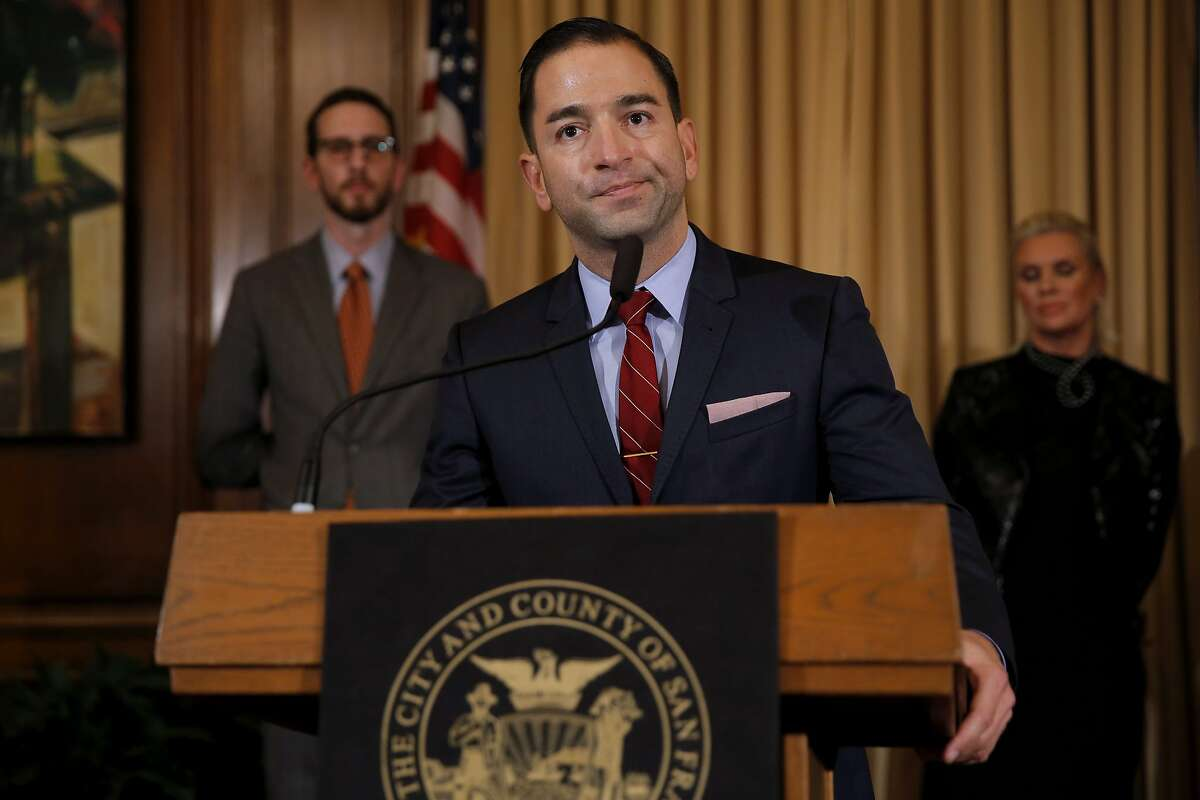 """James Loduca, San Francisco AIDS Foundation vice president, pauses while speaking at a news conference to announce additional funds toward the """"get to zero"""" HIV/AIDS initiative at City Hall in San Francisco, California, on Thursday, Oct. 29, 2015."""